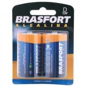 Pilha Alcalina D Grande 1,5 Volts Brasfort