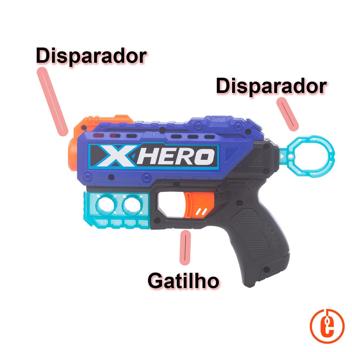 2 Pistolas Lança Dardos tipo nerf 12 dardos 4 latinhas Hero Duo Baby Style