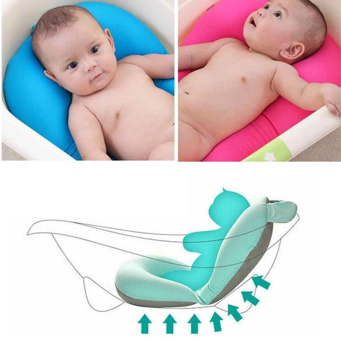 Almofada Flutuante para Banho Bebê de Banheira Bóia Suporte - Rosa