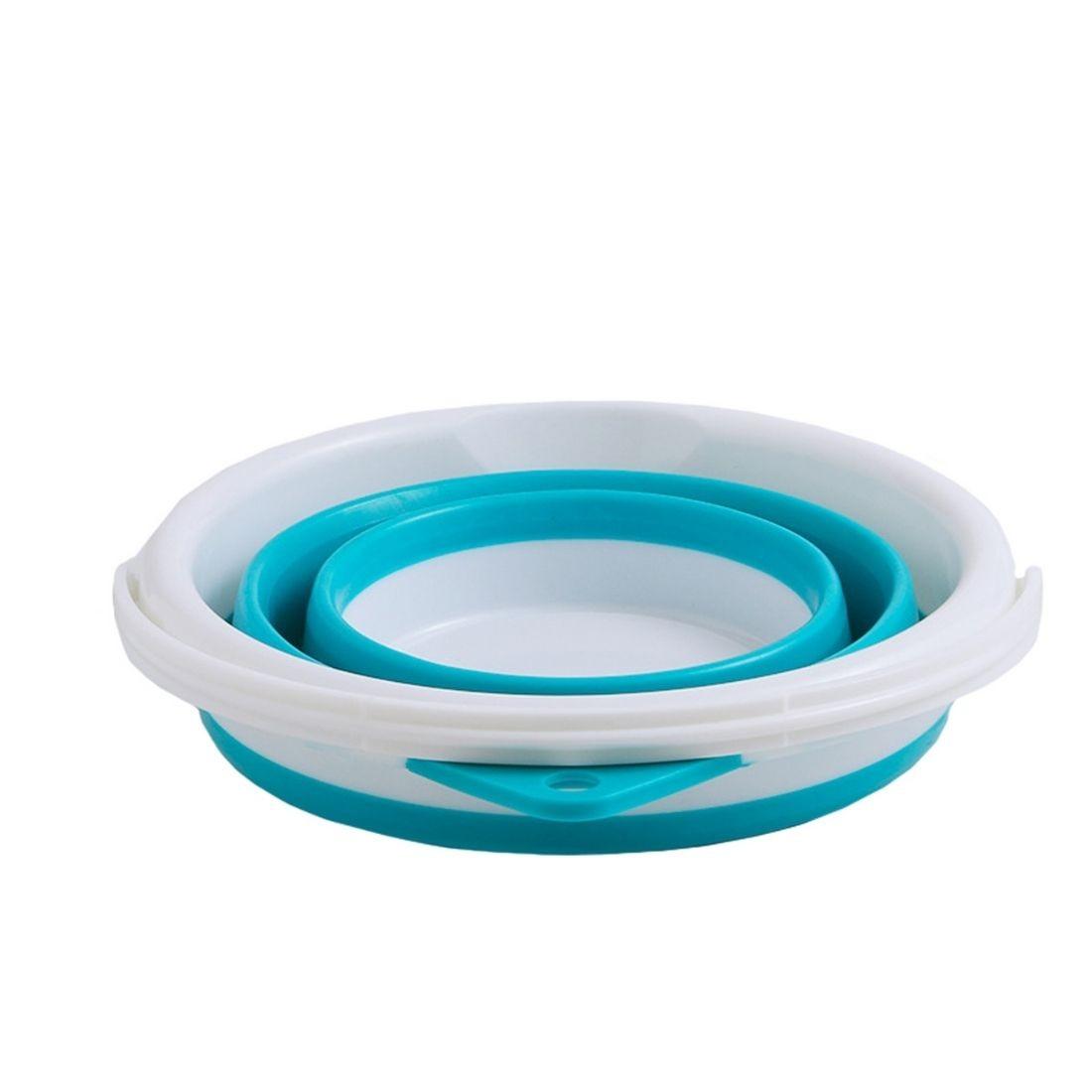 Balde Dobrável Retrátil Sanfonado Multiuso Silicone 10L - Azul