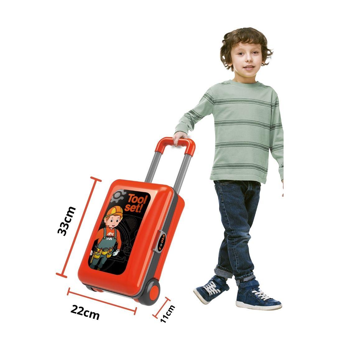 Bancada Infantil Kit Ferramentas 2 em 1 vira Maleta Didático