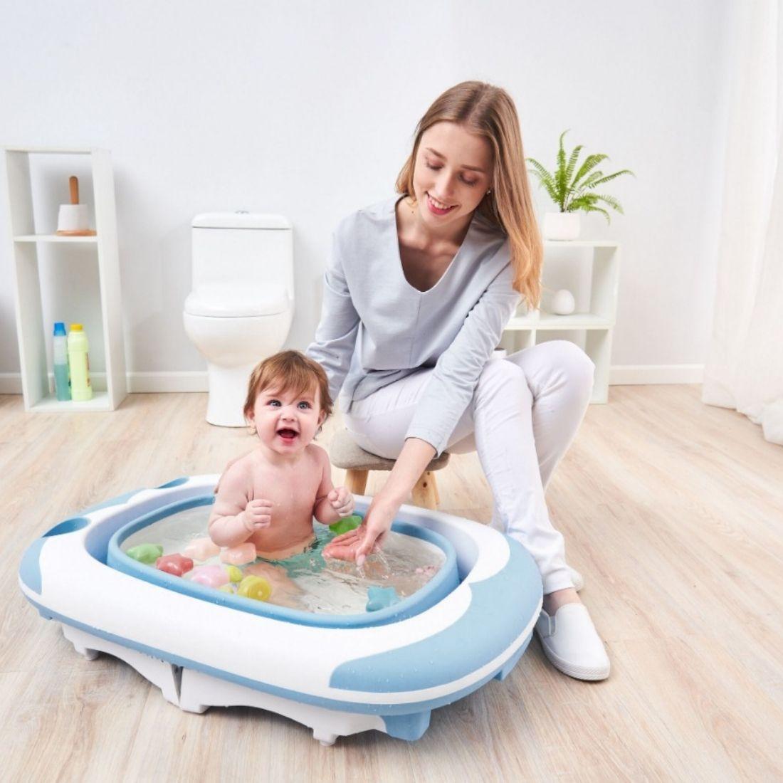 Banheira Ofurô Dobrável Flexi Grande Bebê Infantil 80L Azul