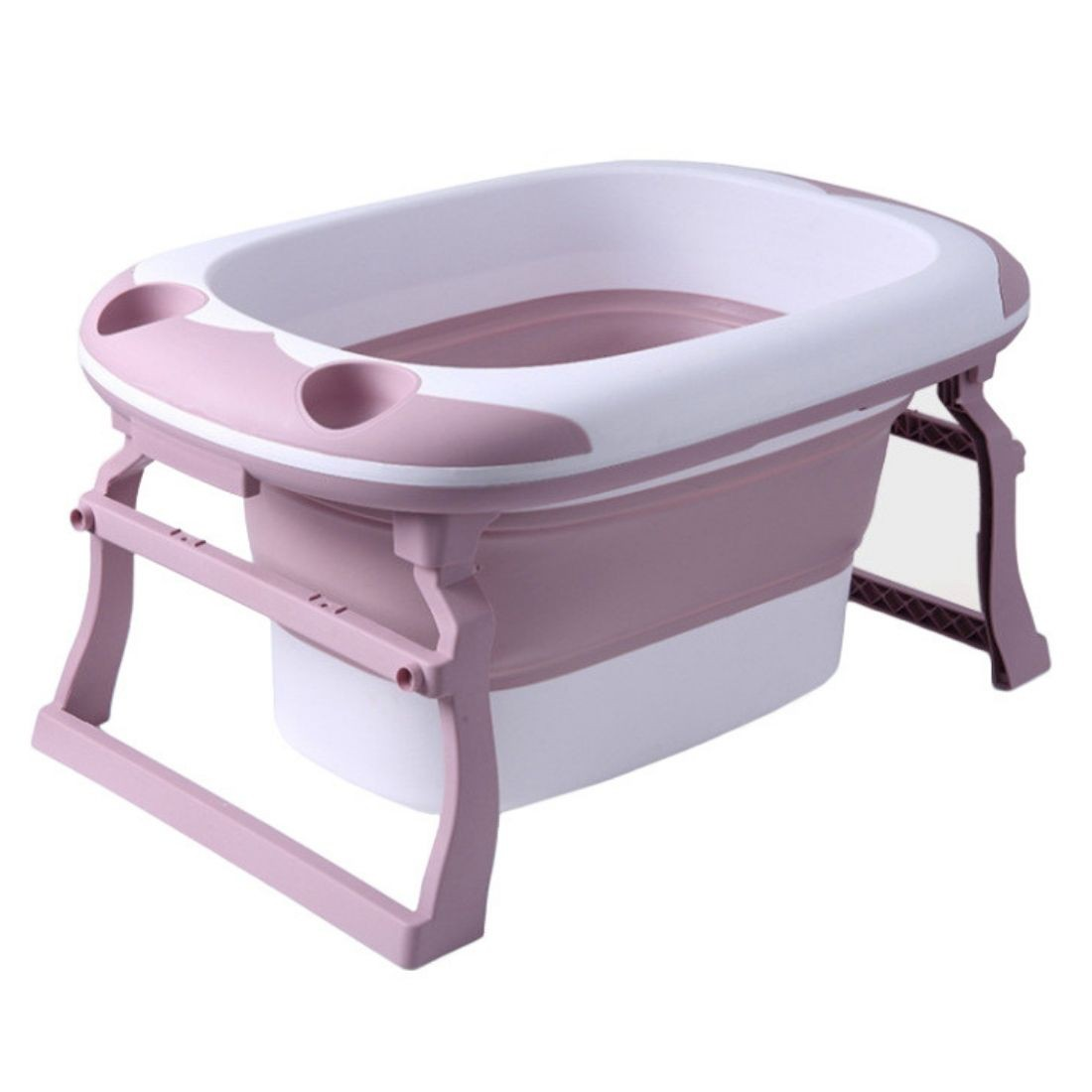Banheira Ofurô Dobrável Flexi Grande Bebê Infantil 80L Rosa