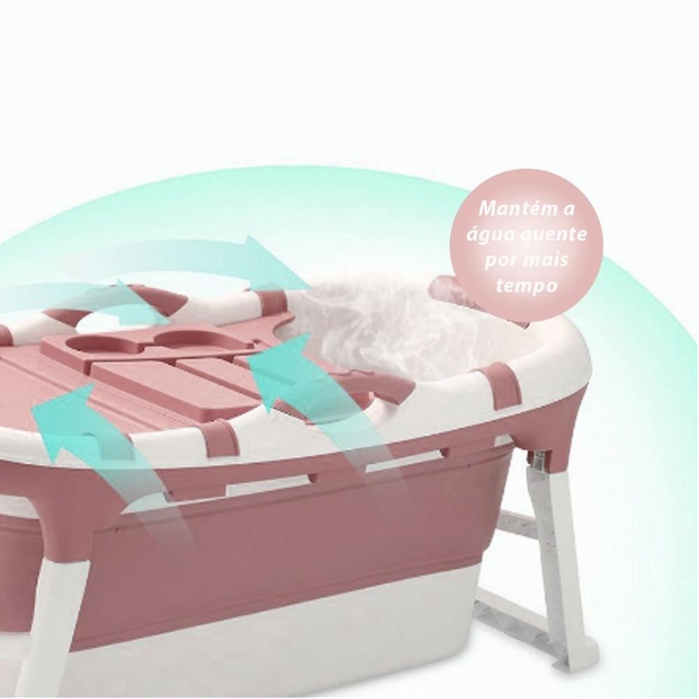 Banheira Spa Ofurô Dobrável Bend Infantil Adulto Grande 120L - Rosa
