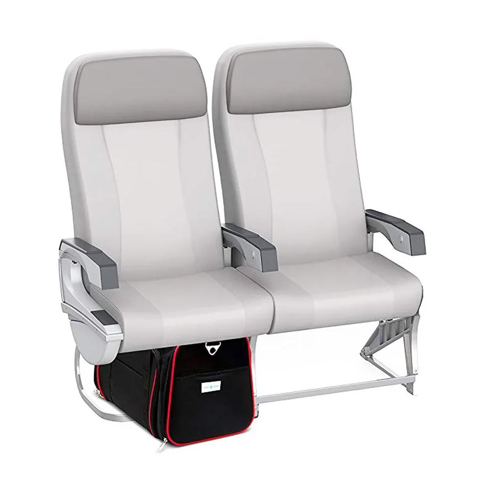Bolsa Pet Expansível Viagem Avião Vermelho + Luva Tira Pelos