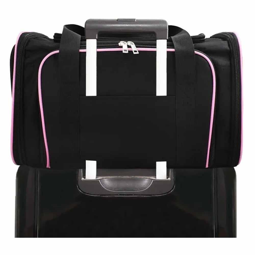 Bolsa Pet Transporte Avião Viagem Expansível Rosa + Luva Tira Pelos