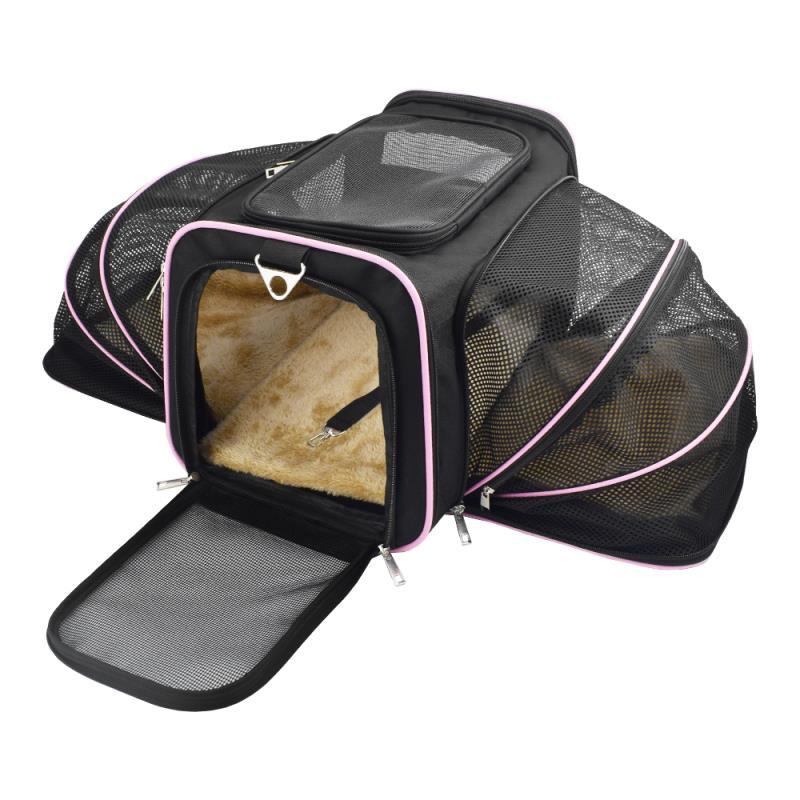Bolsa Pet Transporte Expansível Rosa + Par Luva Tira Pelos