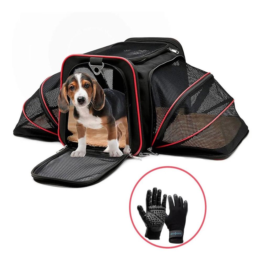 Bolsa Pet Transporte Expansível Vermelho + Par Luva Tira Pelos