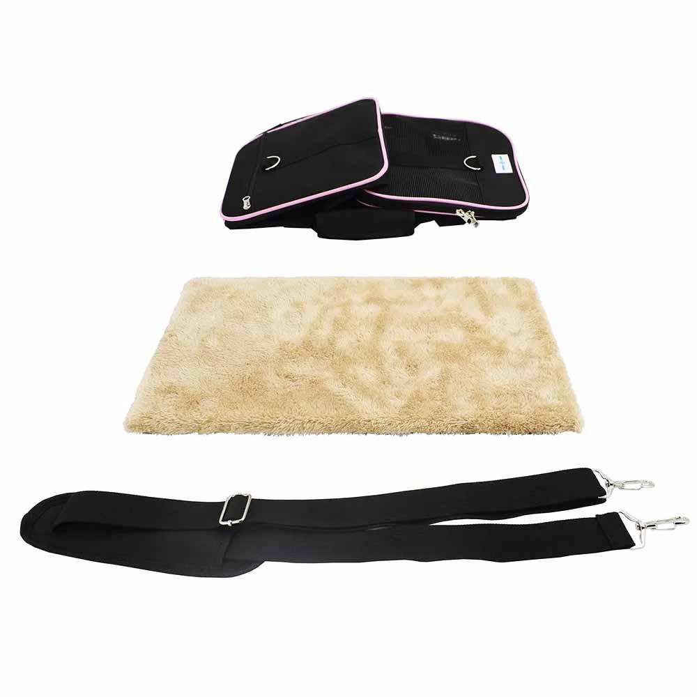 Bolsa Pet Transporte Avião Viagem Rosa + Luva Tira Pelos