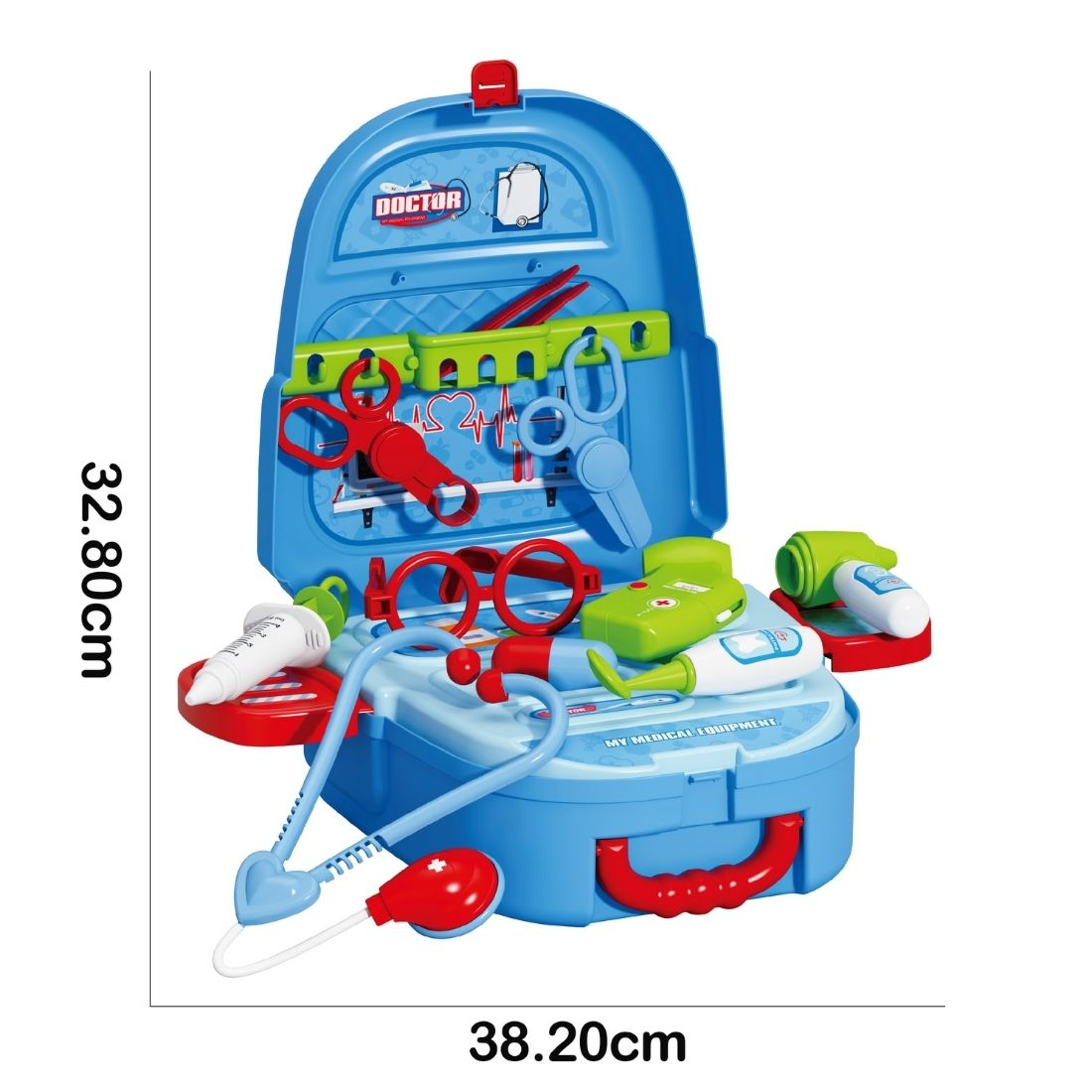 Brinquedo Mochila Kit Médico Maleta Infantil 2 em 1 Completo