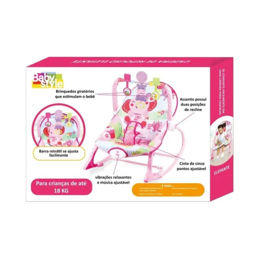 Cadeira Descanso Bebê Vibratória Musical Baby Style Elefante