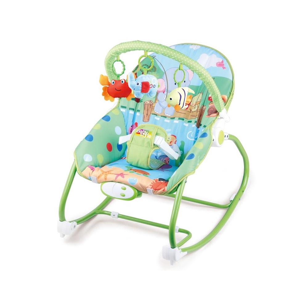 Cadeirinha Descanso Repouso Vibratória Musical Baby Style Cor:Selva Verde