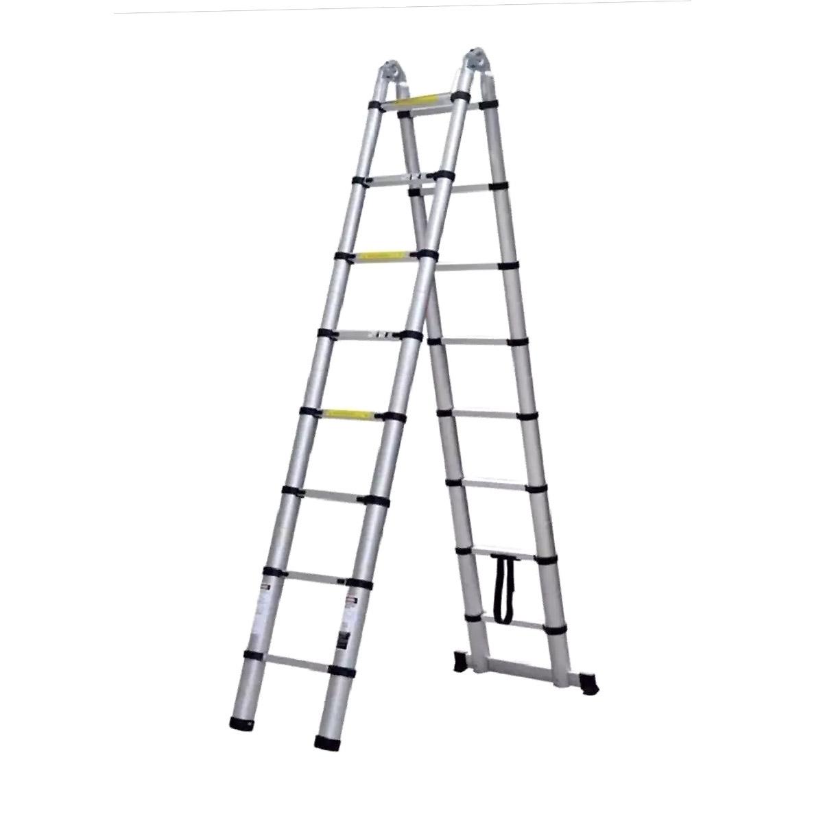 Escada alumínio Telescópica dupla 16 degraus 2,4/5m Starfer
