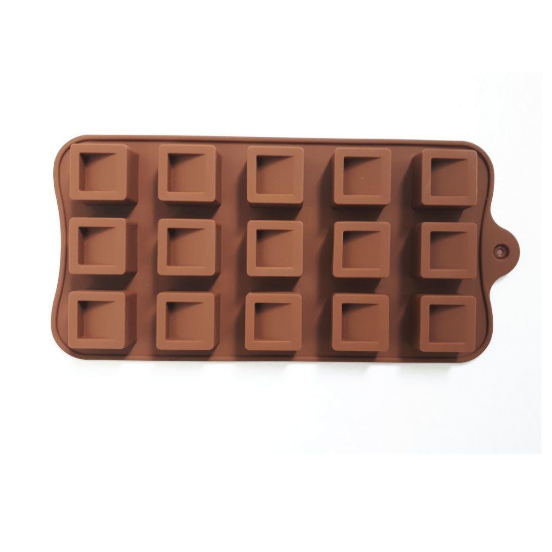 Forma Molde de Silicone para Chocolate Gelo Trufa Quadrada