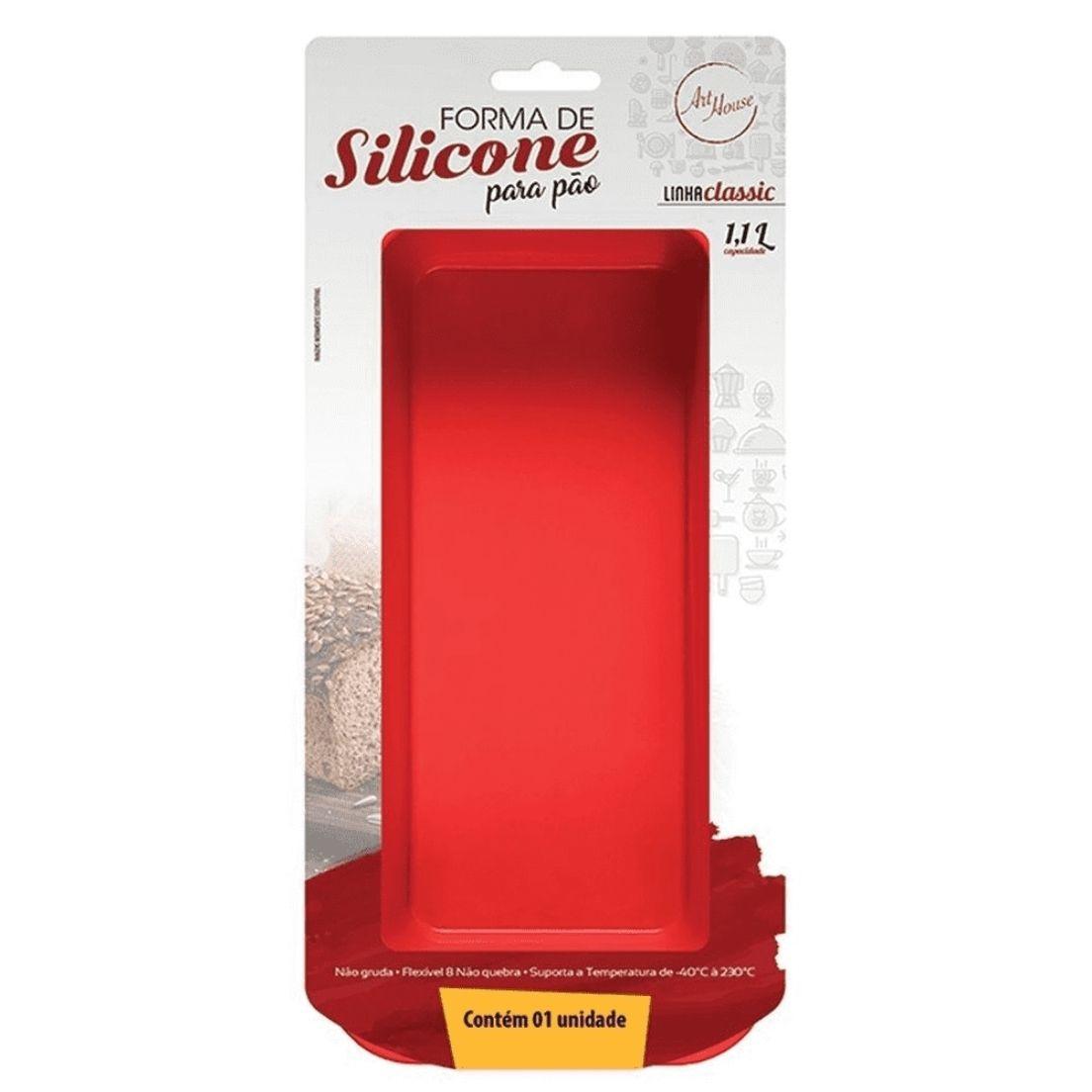 Forma para Assar Pão Bolo Doces Retangular Silicone Vermelho