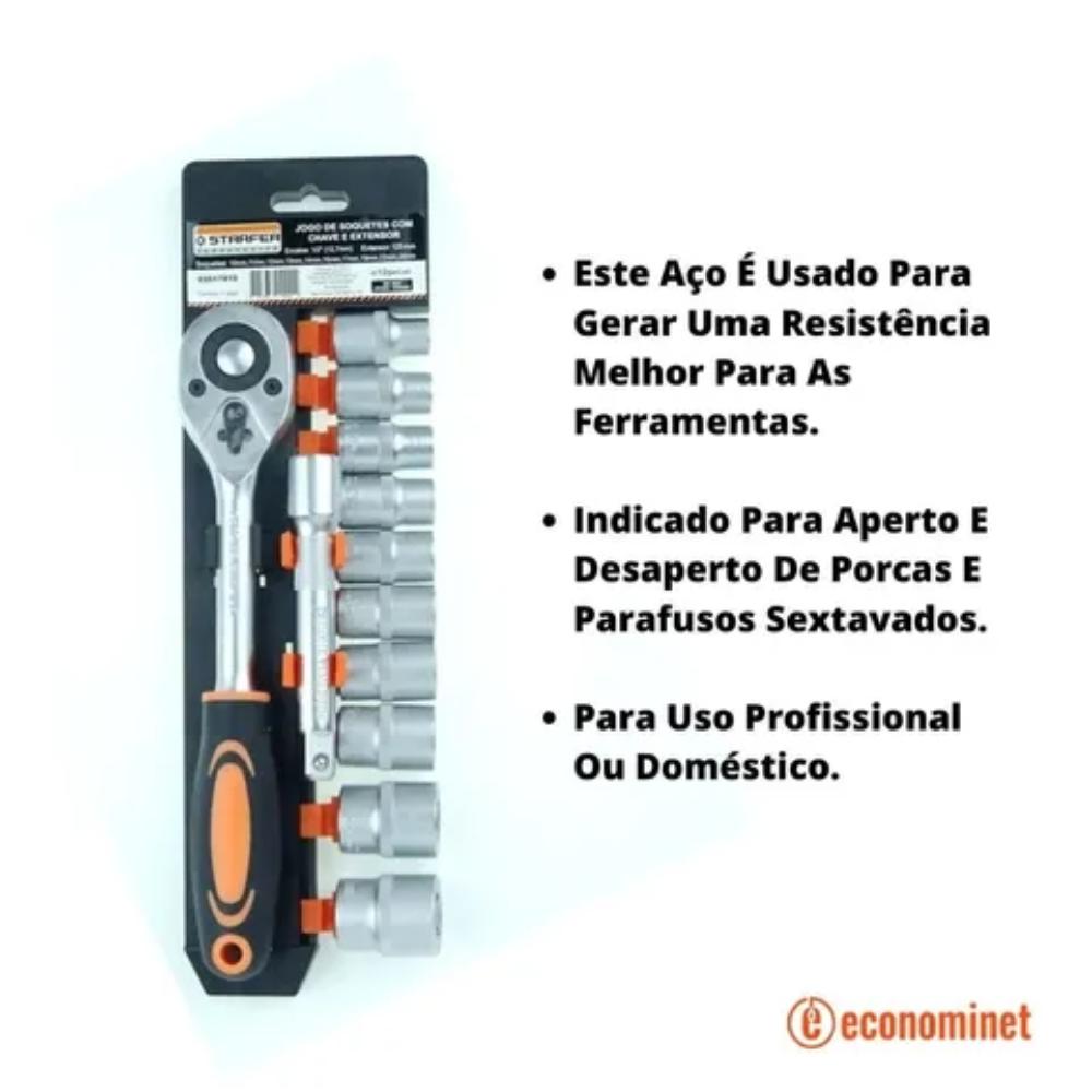 Jogo 10 Peças Chave Catraca 1/4 + Extensão + Soquete Starfer