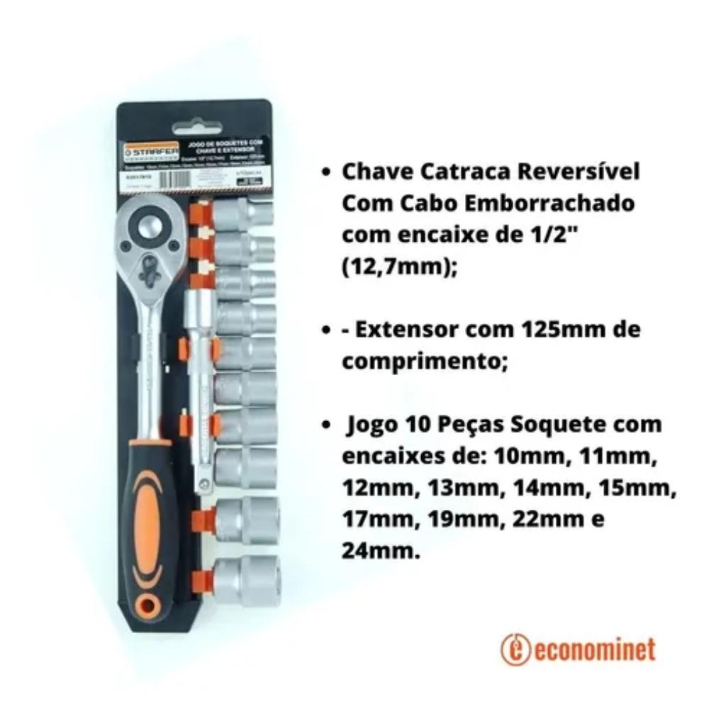 Jogo 12 Peças Chave Catraca 1/2 + Extensor + Soquete Starfer