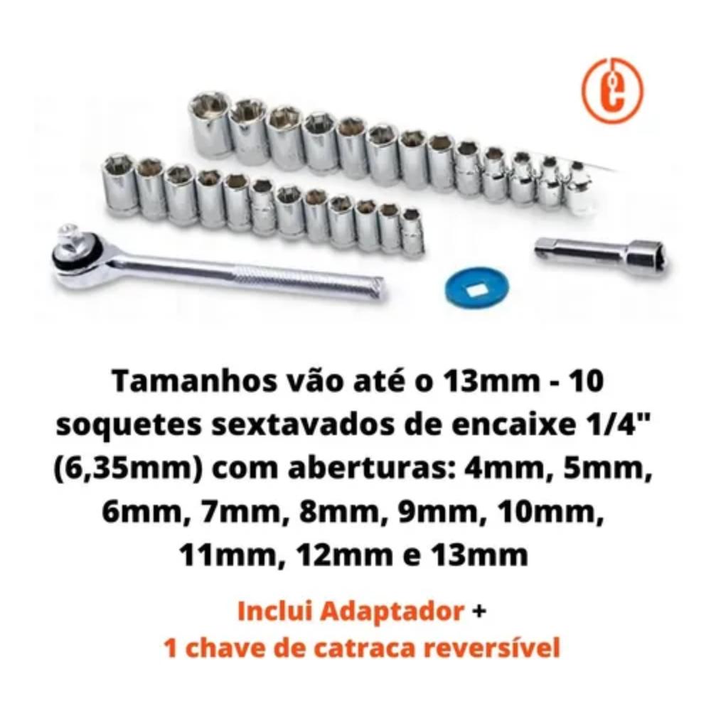 Jogo De Soquetes Pontas Bits Catraca E Adaptador 3/8 40peças