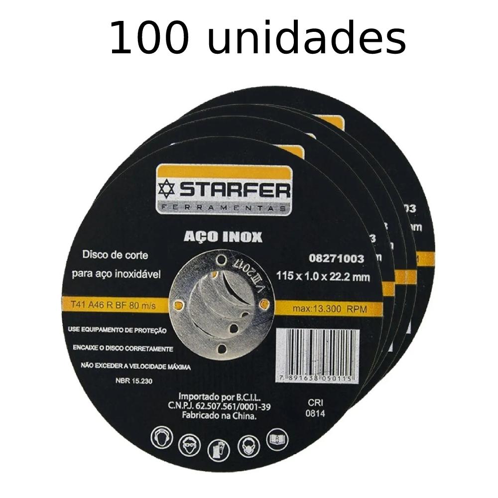 KIt  100 Discos de corte inox 4.1/2X7/8 STARFER