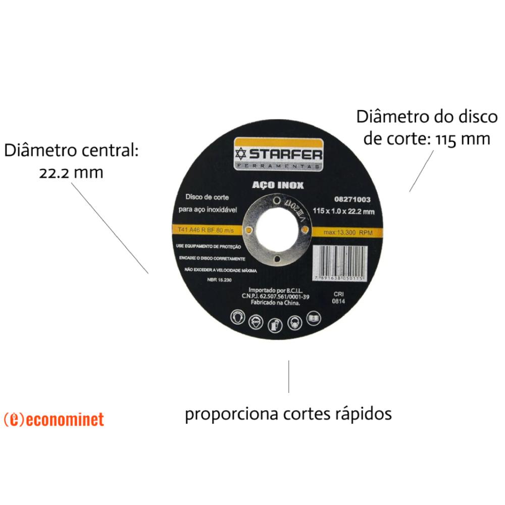 KIt  50 Discos de corte inox 4.1/2X7/8 STARFER