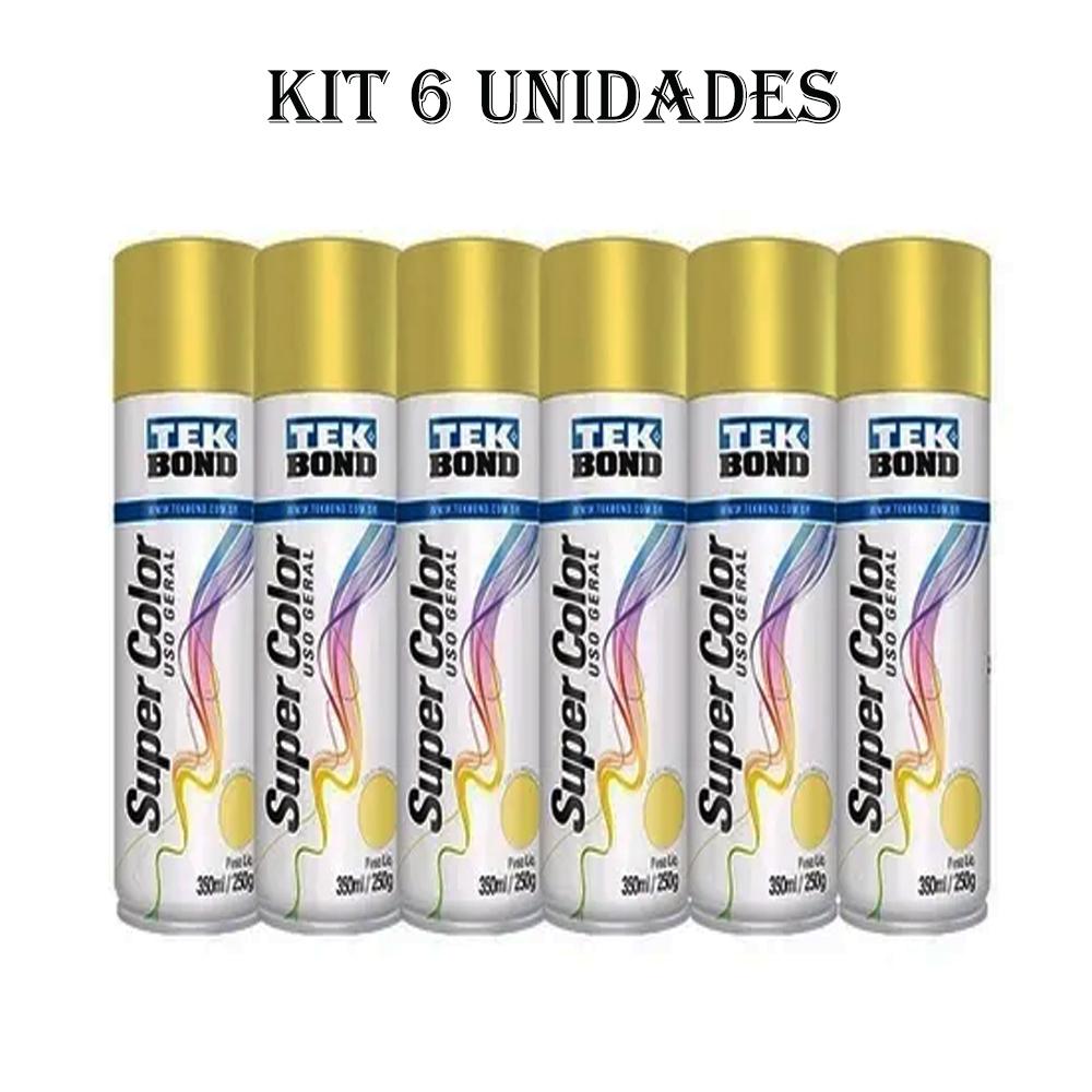 Kit 6 Tinta Spray Uso Geral Tekbond 350ml Dourado