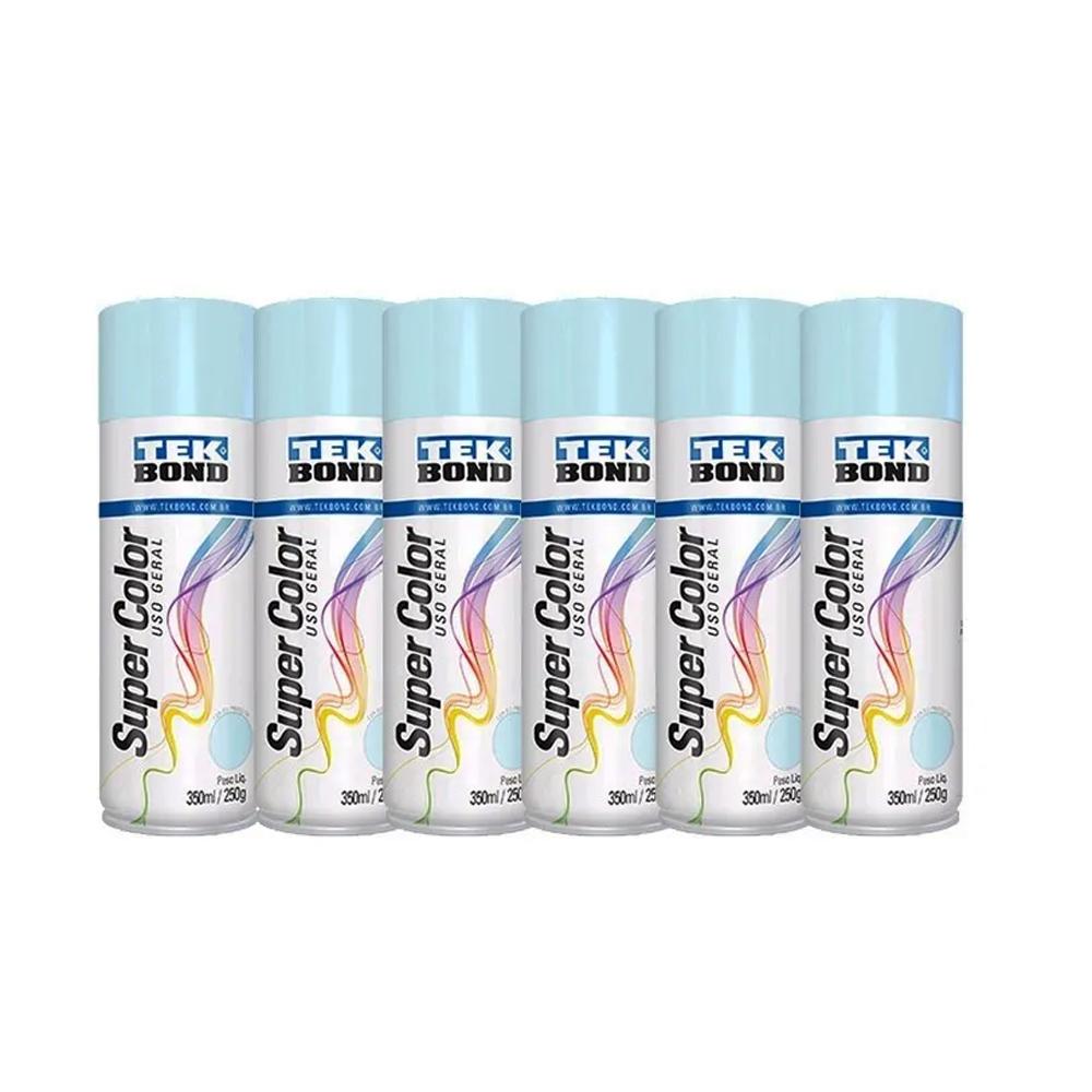 Kit 6 Un. Tinta Spray Uso Geral Tekbond 350ml Azul Claro