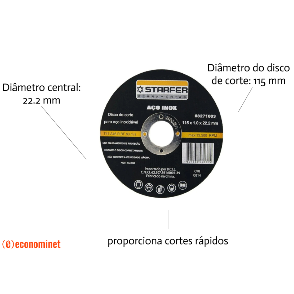 KIt  75 Discos de corte inox 4.1/2X7/8 STARFER