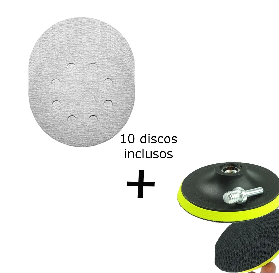 Kit Base Disco de Lixa Velcro com 10 Disco de Lixa Branco 150mm Grão 150