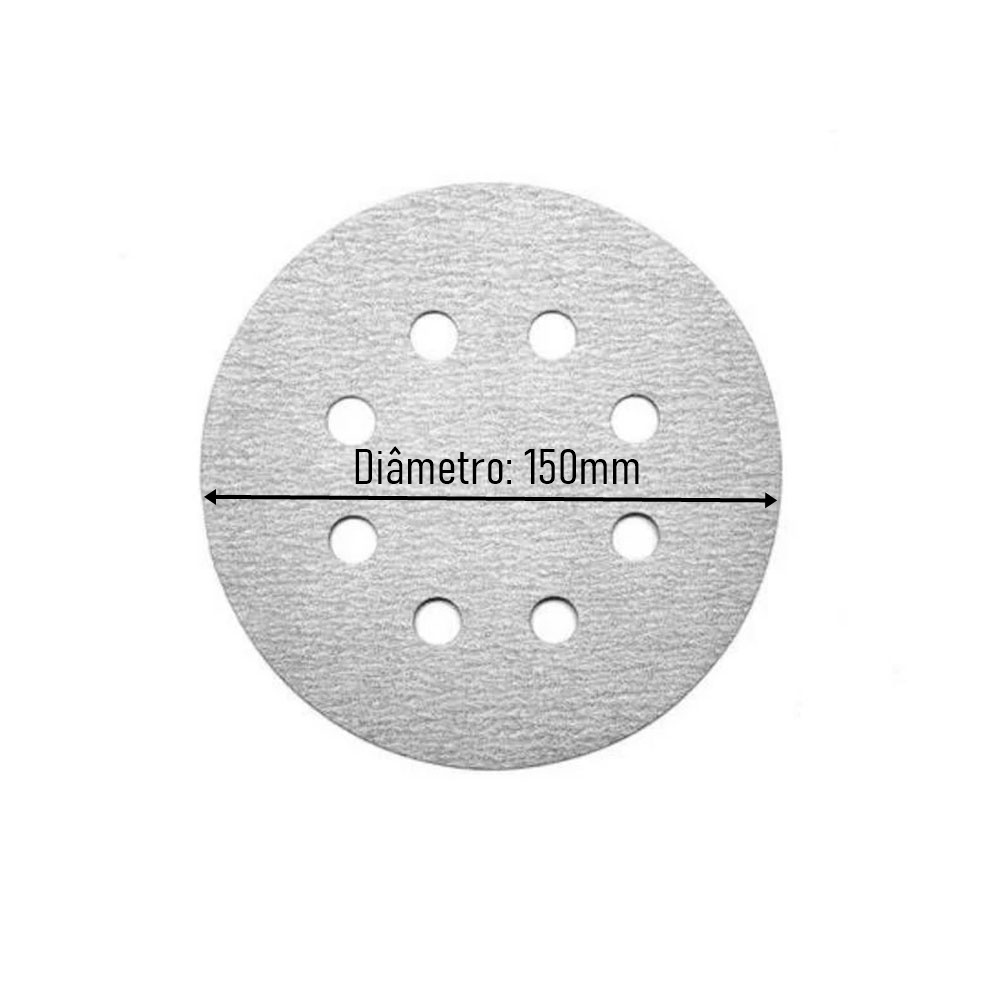 Kit Base Disco de Lixa Velcro com 10 Disco de Lixa Branco 150mm Grão 180