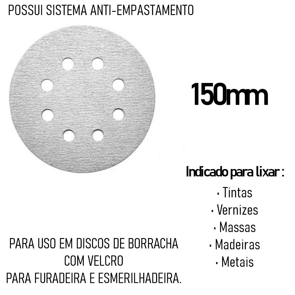 Kit Base Disco de Lixa Velcro com 10 Disco de Lixa Branco 150mm Grão 220