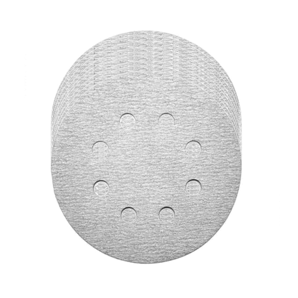 Kit Base Disco de Lixa Velcro com 10 Disco de Lixa Branco 150mm Grão 600
