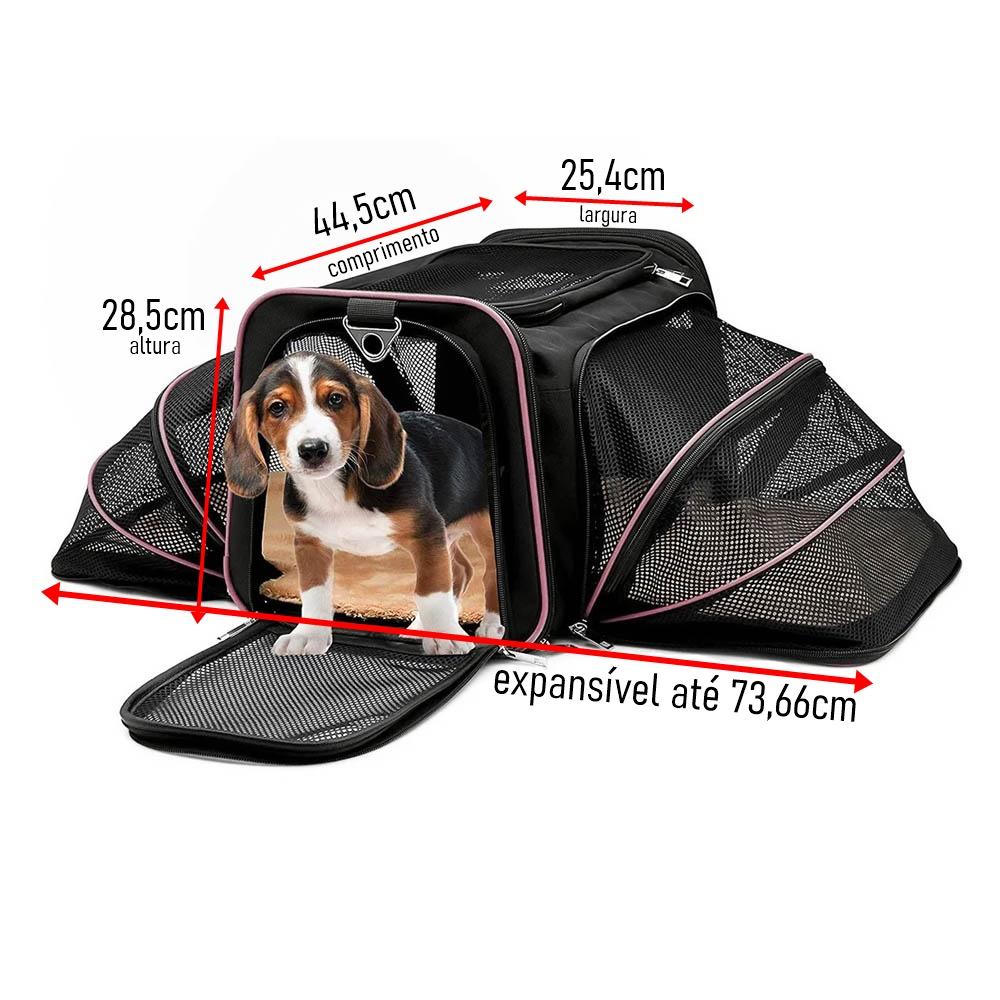 Kit Bolsa Pet Transporte Expansível Rosa + Par Luva Tira Pelos