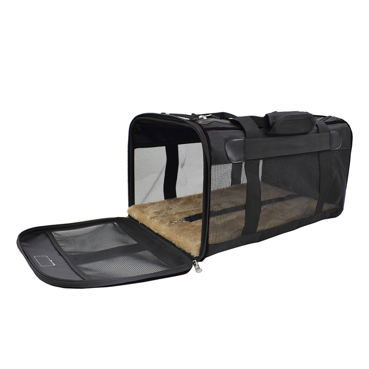 Kit Bolsa Pet Transporte Preta + Luva Tira Pelos