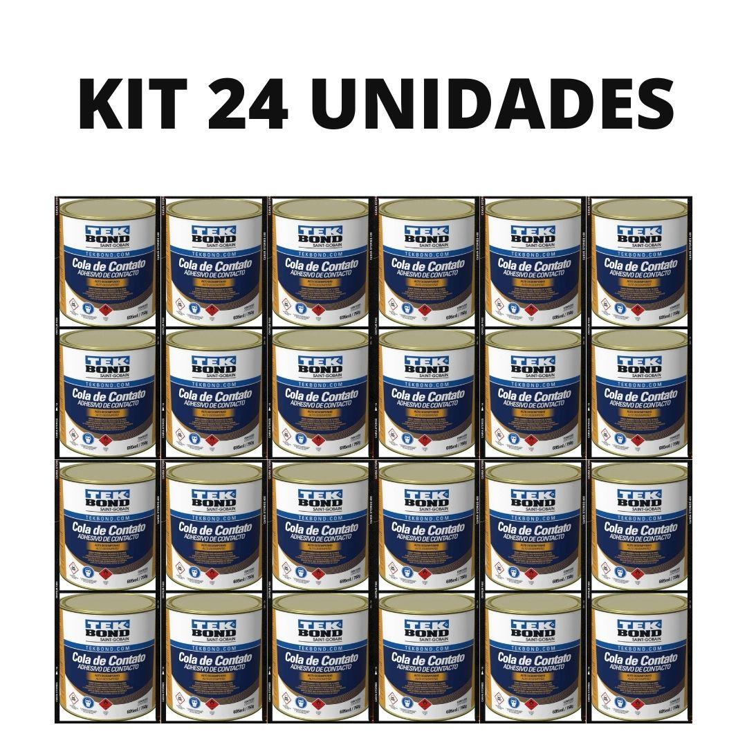 Kit Com 24 Unidades Cola Contato Adesivo 695ml/750g Tekbond