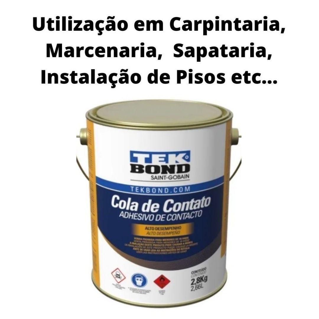 Kit Com 6 Unidades Cola De Contato E Adesivo Tekbond 2,8kg