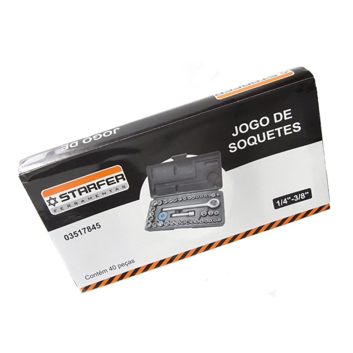 Kit Jogo Ferramenta 49pçs Soquete Chave Fixa Alicate Starfer