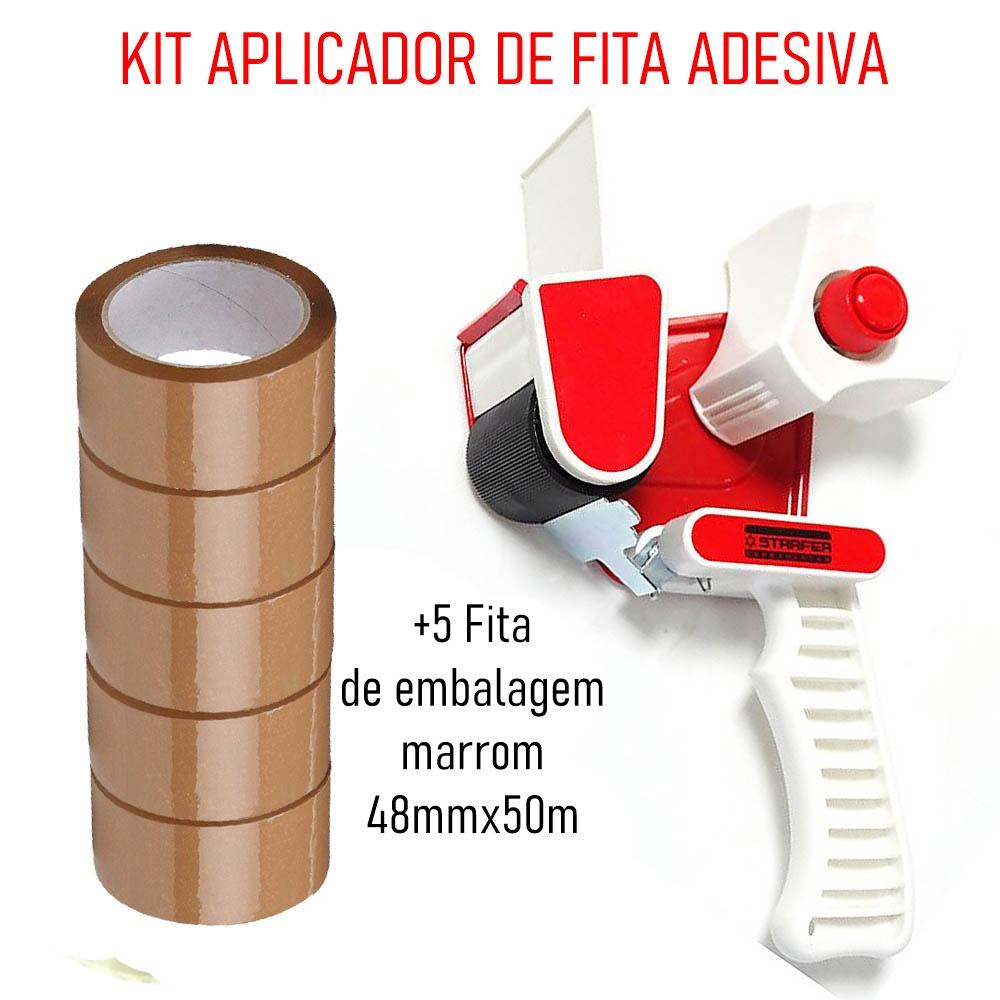 Kit Suporte p/Fita de Embalagem + Fita de embalagem marrom Adelbras 48mmx50m