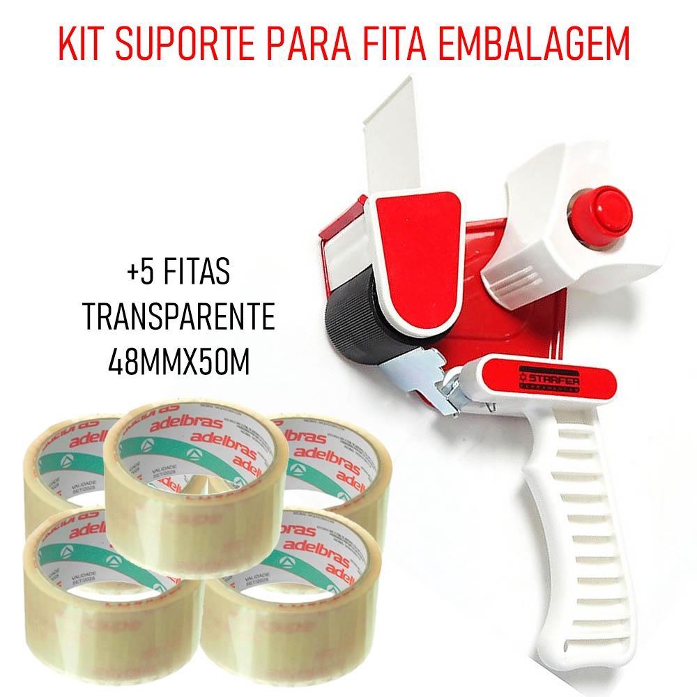 Kit Suporte p/Fita de Embalagem + Fita de embalagem transparente Adelbras 48mmx50m