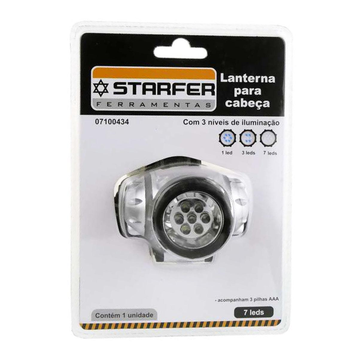 Lanterna Para Cabeça 7 Leds Iluminação Starfer +3 Pilhas AAA
