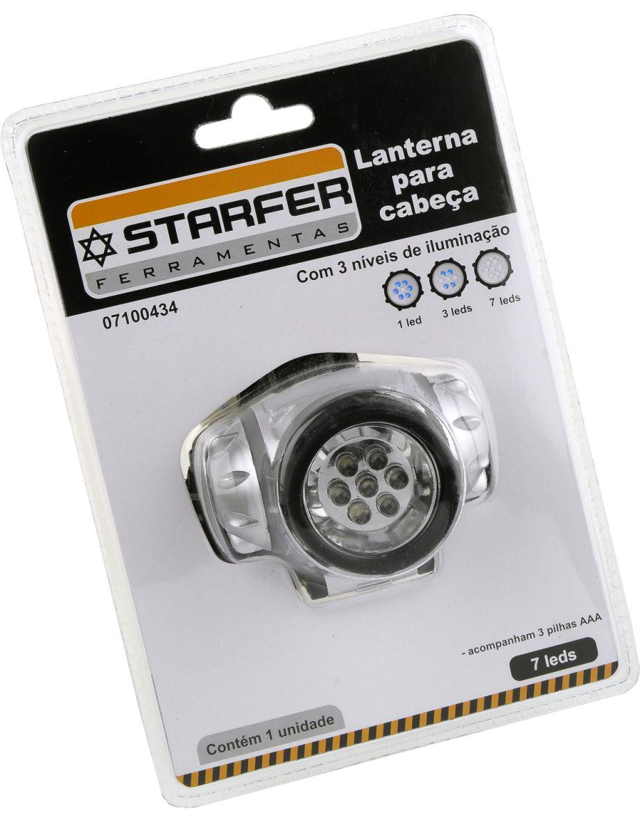 Lanterna Para Cabeça Capacete Turbo 7 Led Forte Starfer