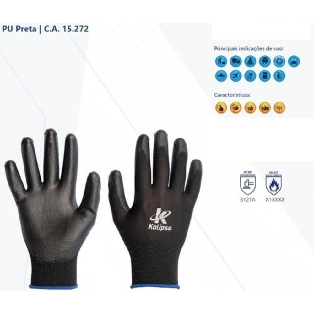 Luva de proteção Poliuretano PU Tatil Preta 8 M 12 unidades Kalipso