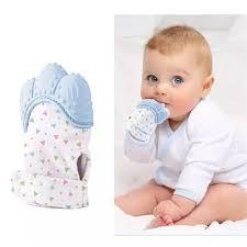 Luva Mordedor Bebes Silicone Gengivas E Dentição Anti Stress Mãozinha Azul