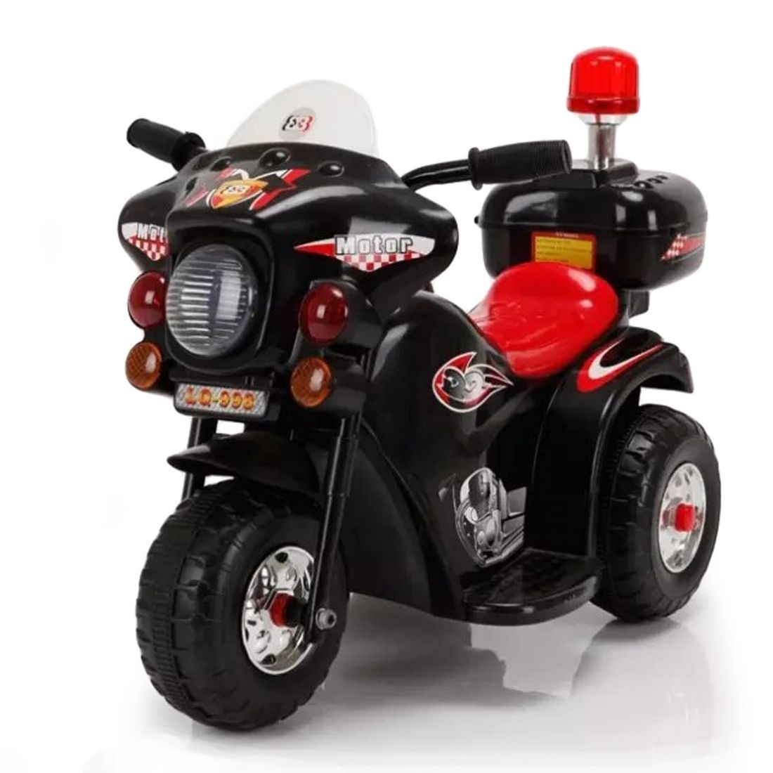 Mini Moto Elétrica Infantil Motorizado 6V Triciclo Polícia
