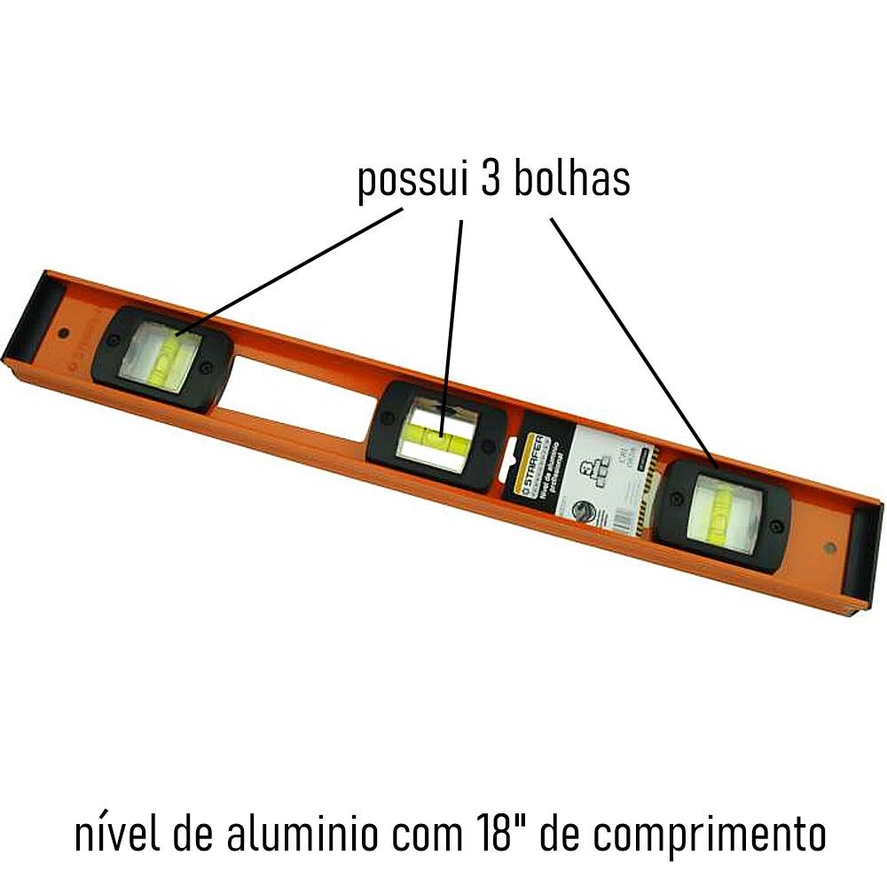 Nível Alumínio Profissional 18 Polegadas 45Cm Starfer