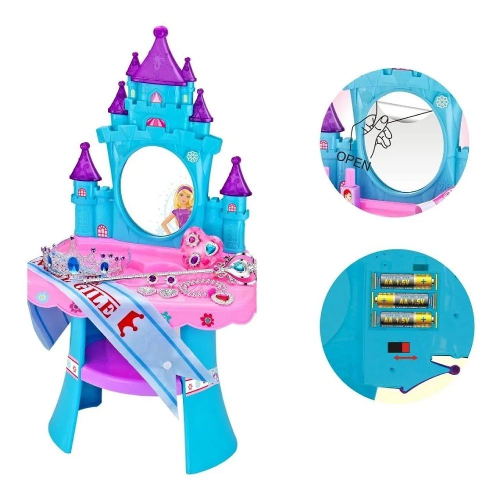 Penteadeira musical castelo princesa com banquinho Baby Style