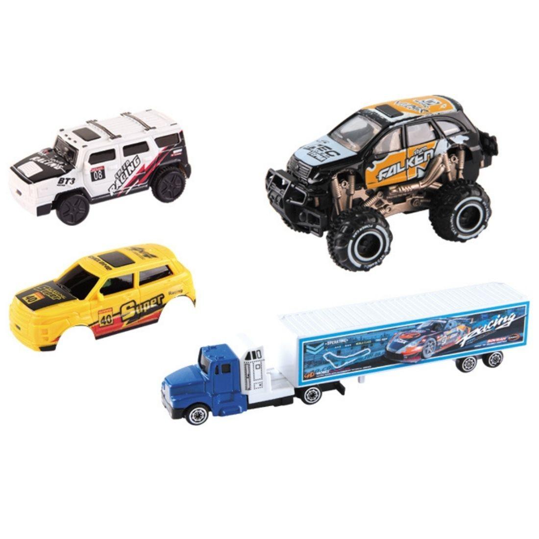 Pista Corrida Trilha kit 4 Carrinho Jeep Off Road e Caminhão