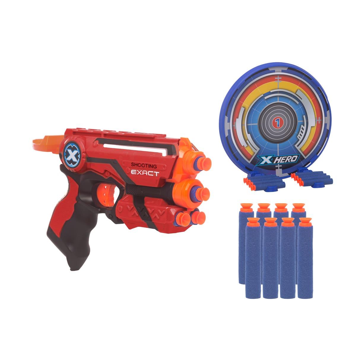 Pistola Lança Dardos Tipo nerf Com 8 Dardos de Sucção e Alvo Hero