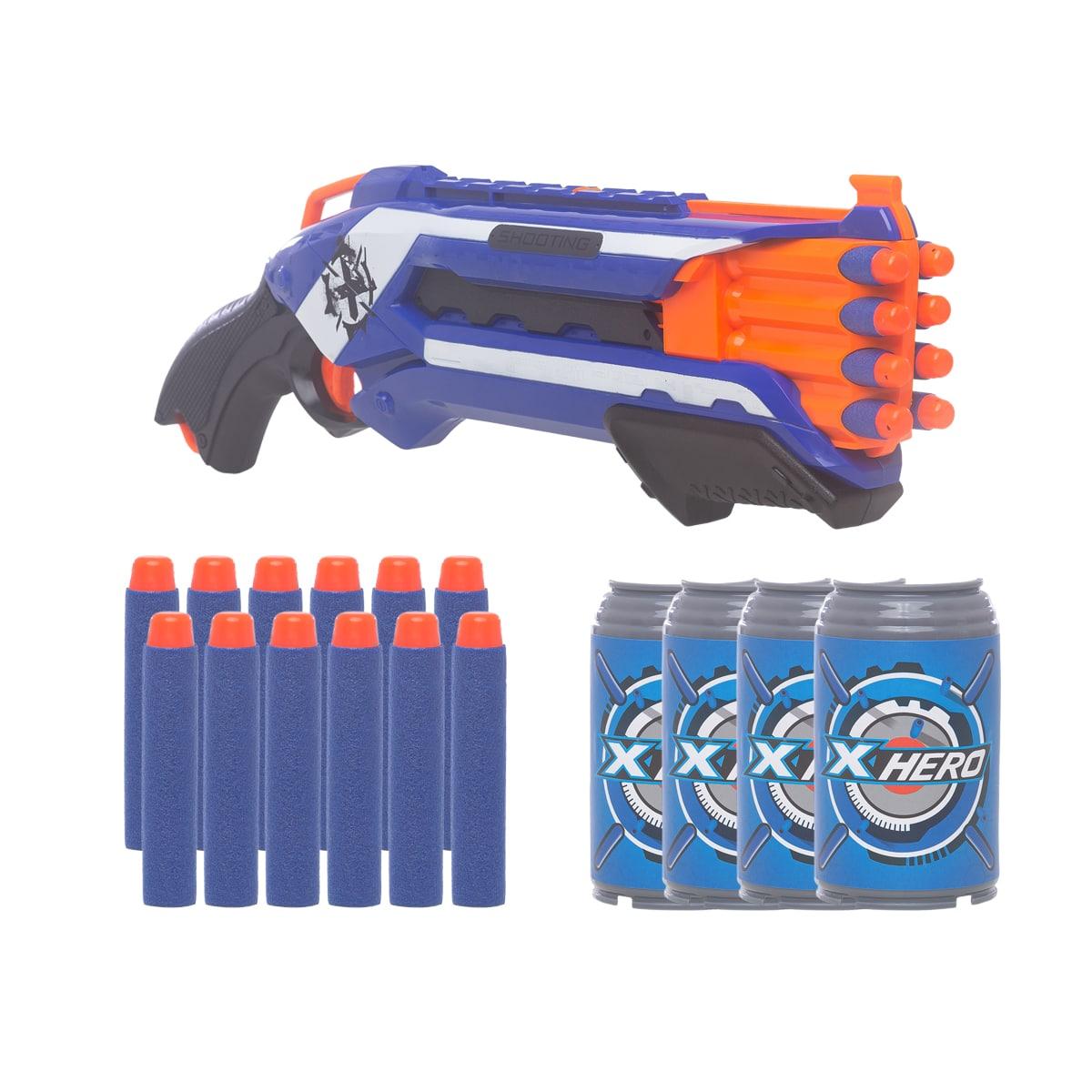 Pistola Lança Dardos Tipo Nerf  Espingarda 12 dardos + 4 Latinhas Alvo Hero