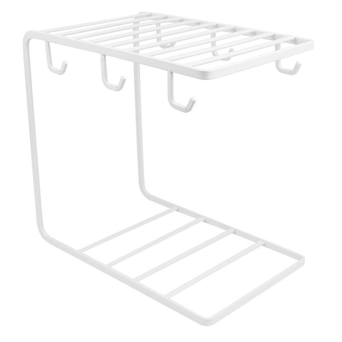 Porta Xícaras Pires Caneca Suporte Organizador Moderno Metal 6 unidades - Branco