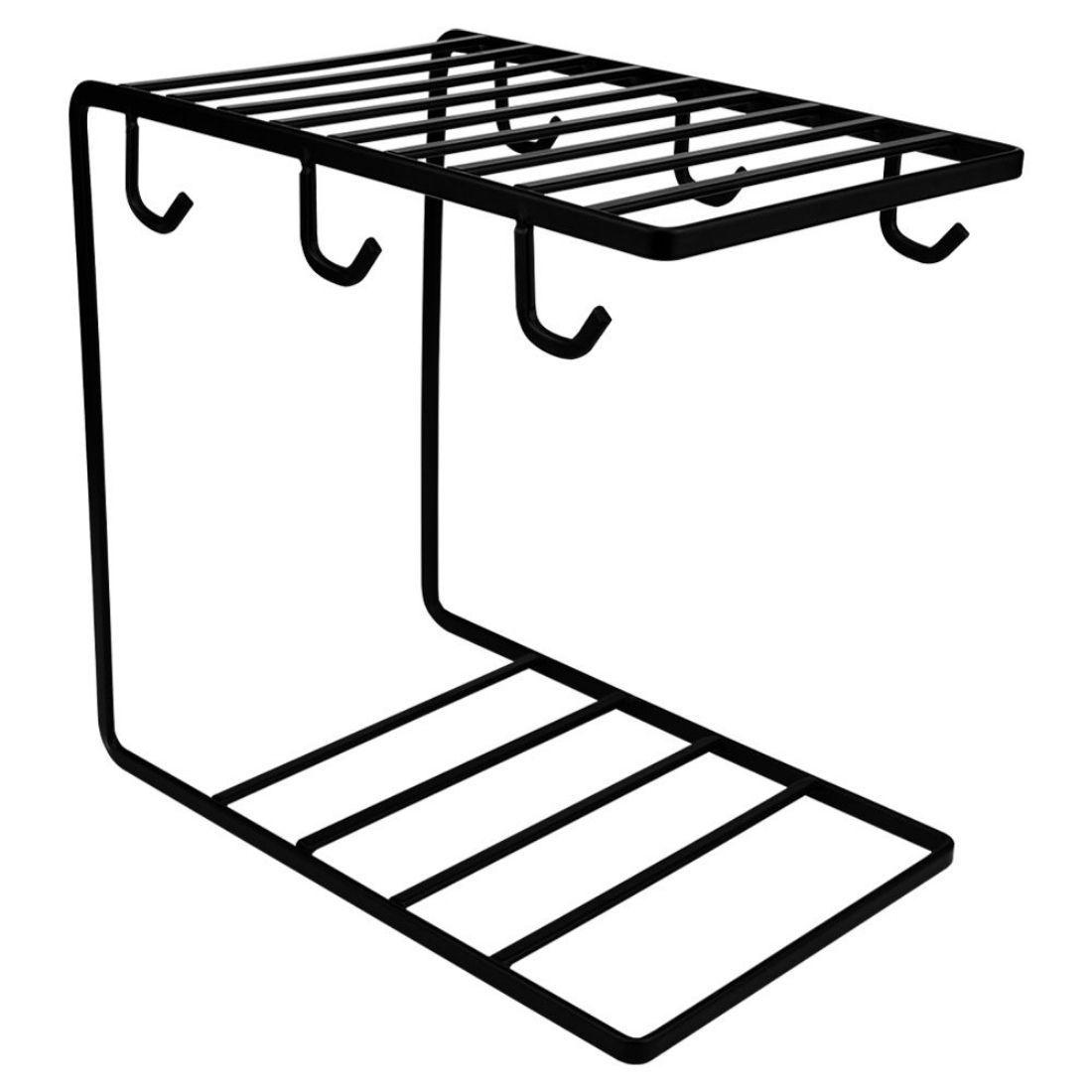 Porta Xícaras Pires Caneca Suporte Organizador Moderno Metal 6 unidades - Preto